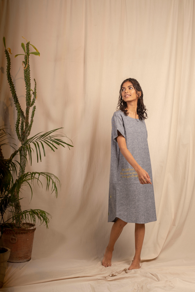 Sui | CORRICELLA embroidered hemp denim shift dress from Granita Summer Collection 2019