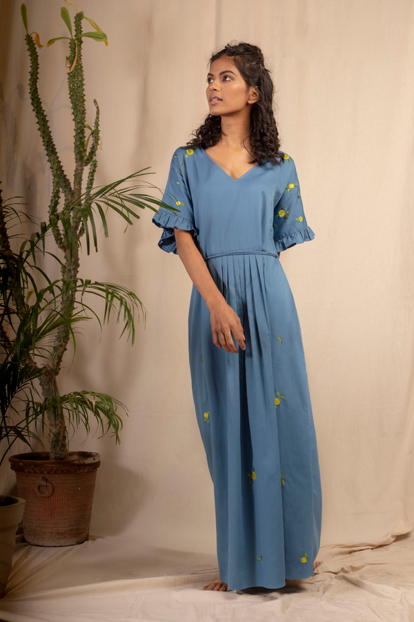 Sui | LEMON SKIES embroidered, herbal-dyed organic cotton maxi dress from Granita Summer Collection 2019