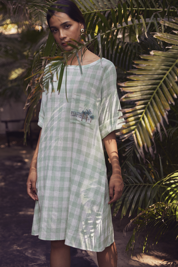 Sui | LERICI hand-embroidered organic cotton khadi checked shift dress from Granita Summer Collection 2019