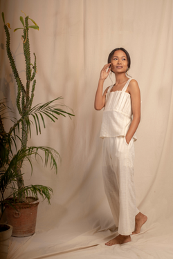 Sui | MARIA naturally dyed handwoven organic cotton trousers with hand-embroidered waist-belt from Granita Summer Collection 2019
