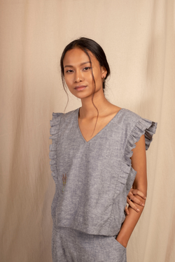 Sui | MARINA embroidered hemp denim casual top with ruffle details from Granita Summer Collection 2019
