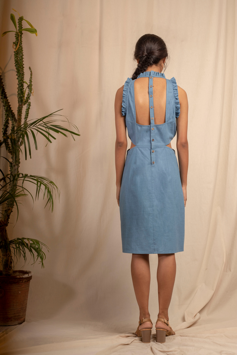Sui | MARTINA embroidered, herbal-dyed hemp dress with cinched waist and cut-out back from Granita Summer Collection 2019