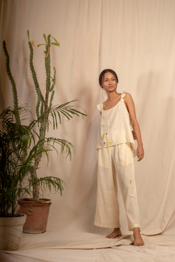 Sui | MELONE embroidered handwoven organic cotton casual striped trousers from Granita Summer Collection 2019