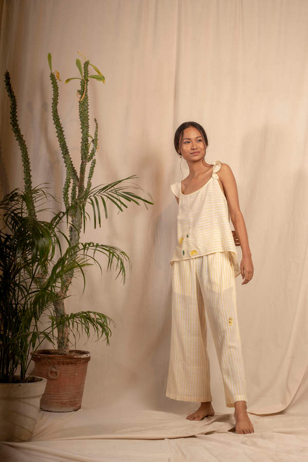 Sui | MELONE hand-embroidered, organic cotton khadi casual striped top with ruffle details from Granita Summer Collection 2019
