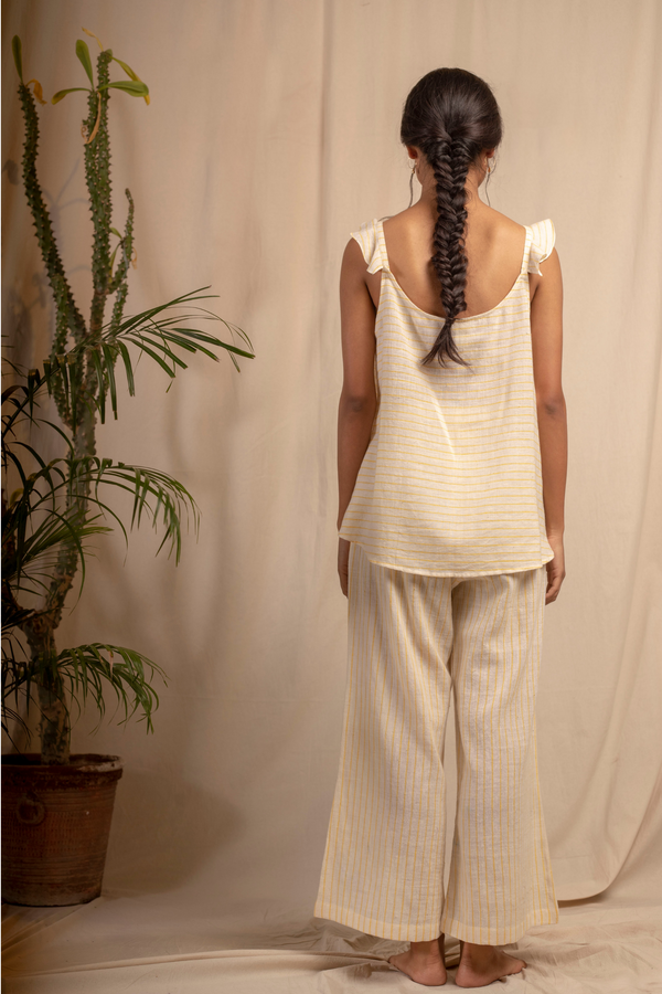 Sui | MELONE hand-embroidered, handwoven organic cotton casual striped top with ruffle details from Granita Summer Collection 2019