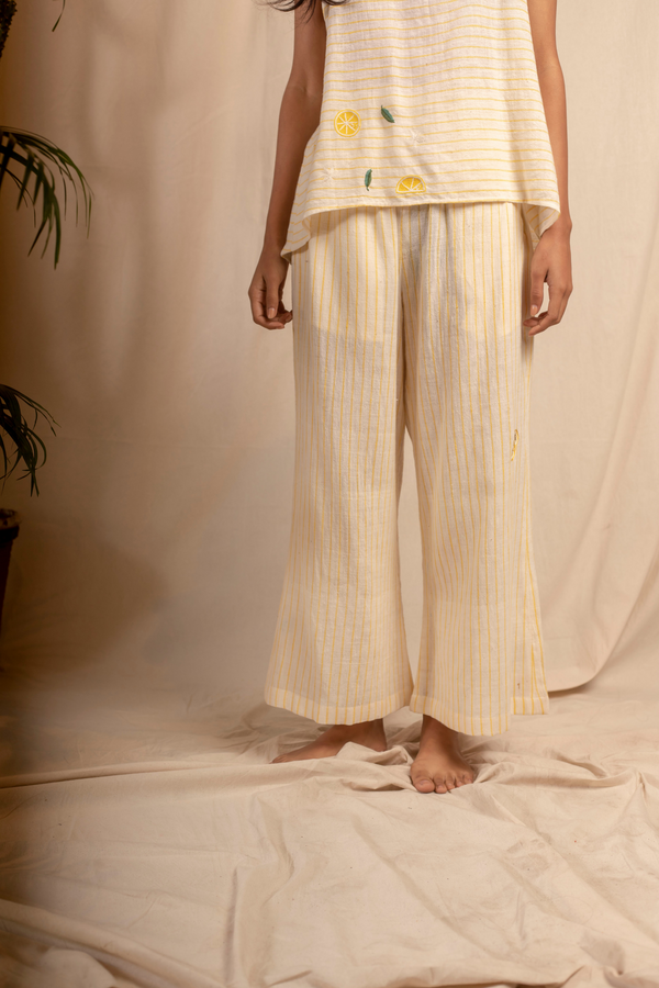 Sui | MELONE embroidered organic cotton khadi casual striped trousers from Granita Summer Collection 2019