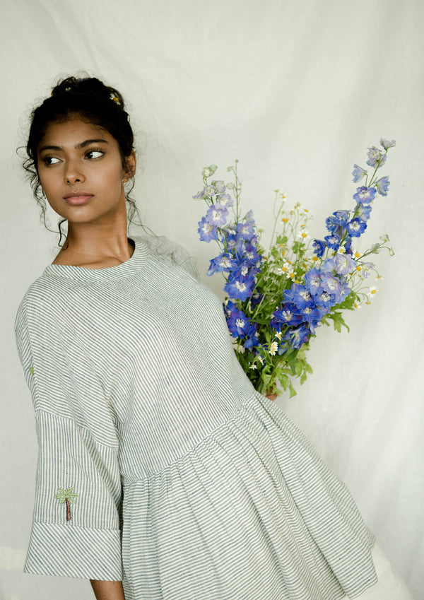 Sui | PALM LOVE (HANDWOVEN EDITION) embroidered, handwoven organic cotton anti-fit peplum top from Basic-ally Sui Basics Collection 2019