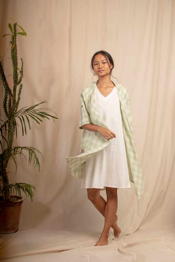 Sui | SUMMER classic white hemp knit sleeveless dress from Granita Summer Collection 2019
