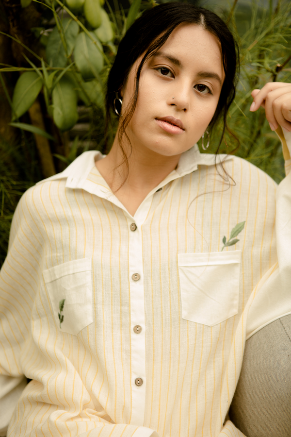 Sui | SUNNY SIDE embroidered organic cotton khadi classic full sleeve, button-down shirt from Basic-ally Sui 2.0 Collection 2019
