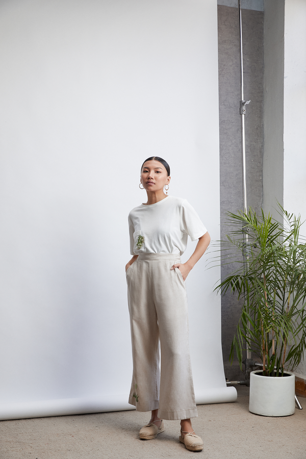 The Easy linen wide-leg trousers