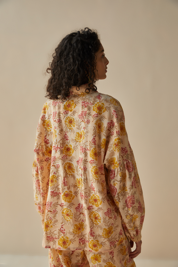 The Flower Power handspun handwoven organic cotton shirt