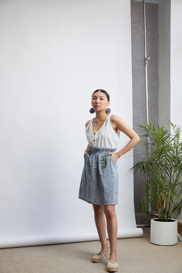 The Sea-rious handwoven organic cotton midi skirt