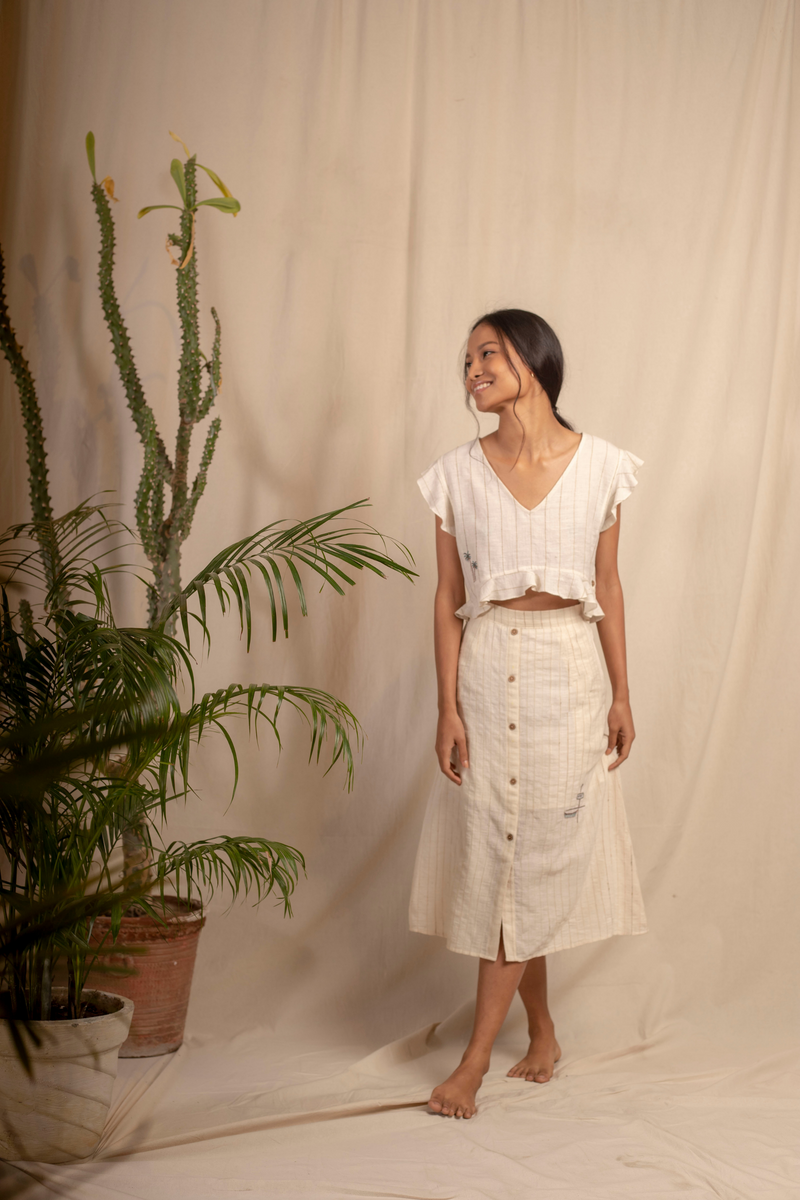 Sui | VANIGLIA hand-embroidered, naturally dyed handwoven organic cotton casual a-line skirt from Granita Summer Collection 2019