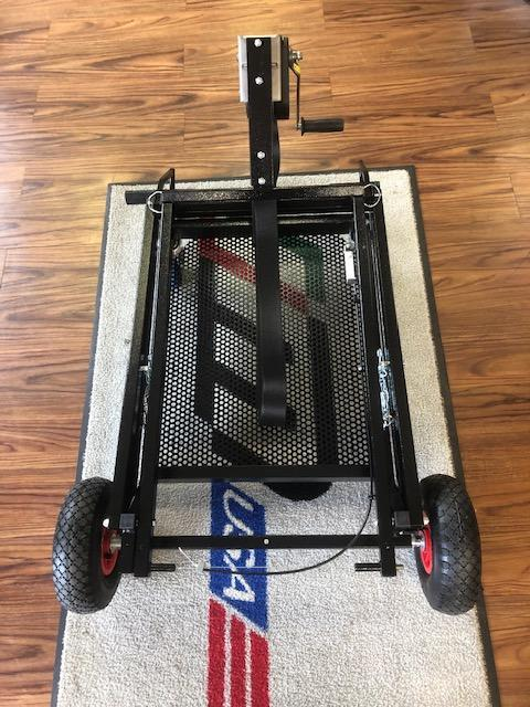 IM Black Semi-Automatic Kart Stand with Hand Winch and Hooks