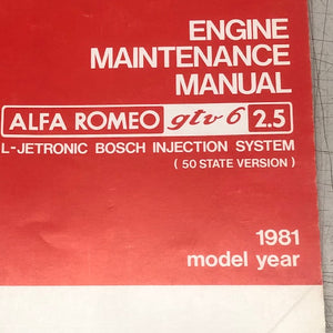 Alfa Romeo GTV6 2.5 Engine Maintenance Manual - Italian Motors USA LLC