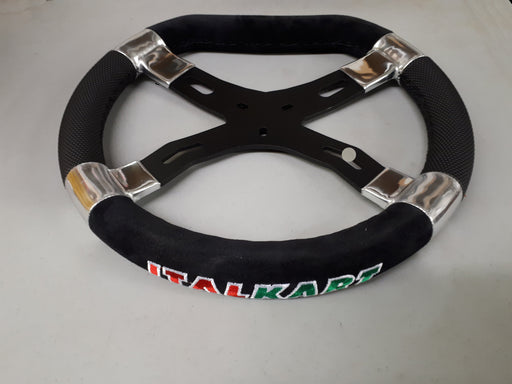 Italkart Steering Wheel - Black with Black Side Grips - Italian Motors USA LLC