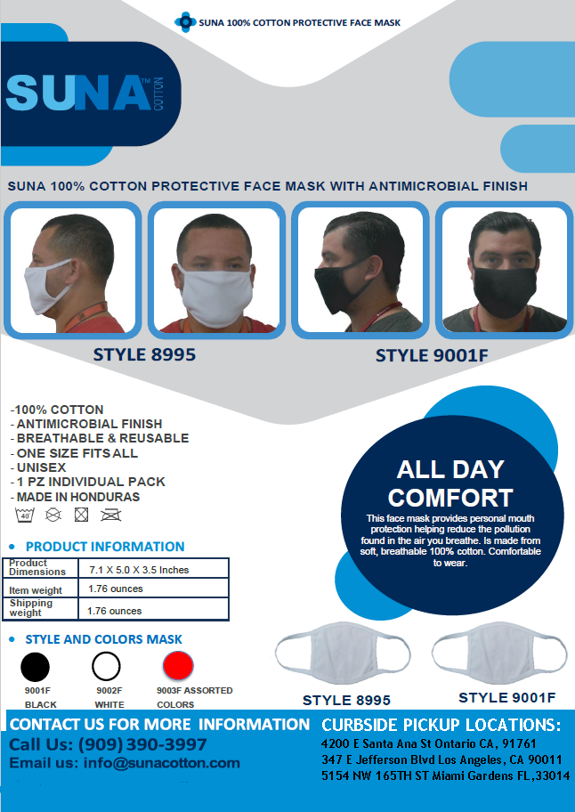 NEW 100% COTTON PROTECTIVE FACE MASK WITH ANTIMICROBIAL FINISH