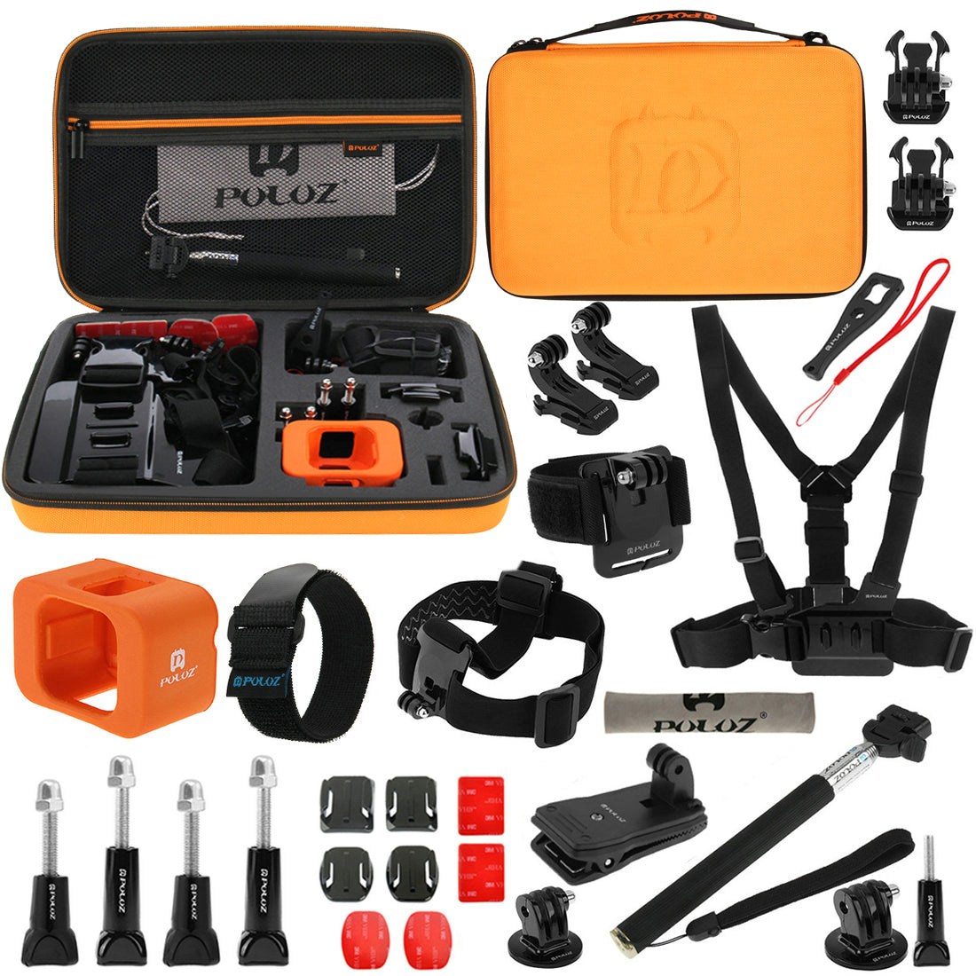 PULUZ PKT32 29 in 1 Accessories Combo Kit Stand Mount Bag Screw for Action Sportscamera