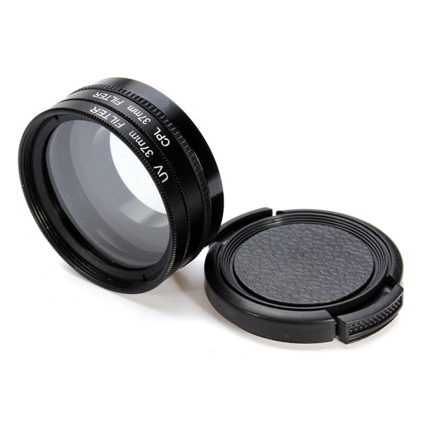 37mm UV CPL Filter Lens Adapter Protector Set For GoPro Hero 3 3+