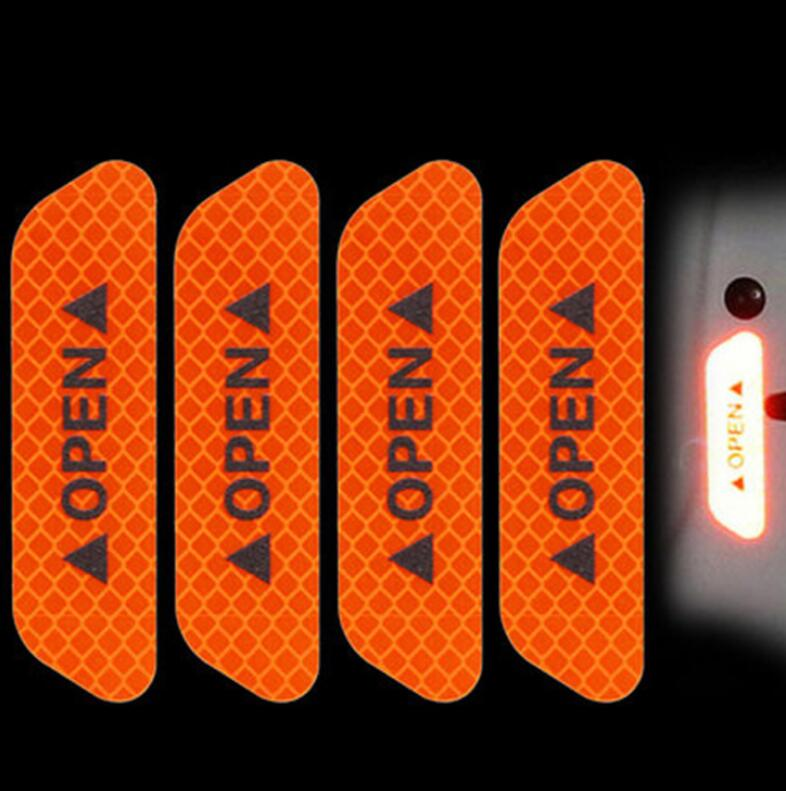 4pcs Car door safety anti-collision warning reflective stickers