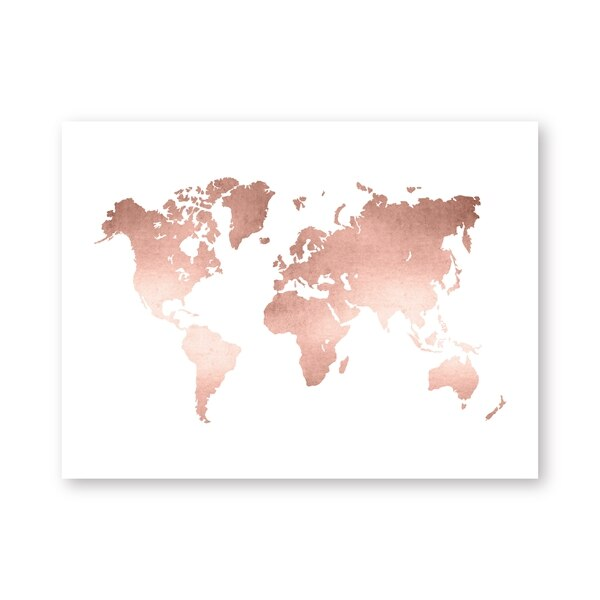 Rose Gold Wold Map Print Office Decor ,Modern Minimalism World Map Poster Canvas Painting Wall Art