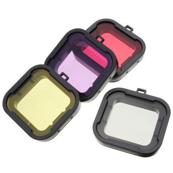 4Pcs Red Yellow Grey Purple Color Diving UV Filter Lens Cover For GoPro Hero 4 3 Plus