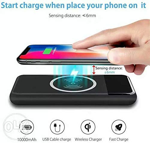 Qi Wireless Portable 10000mAh Fast Charging Power Bank with LED Digital Display