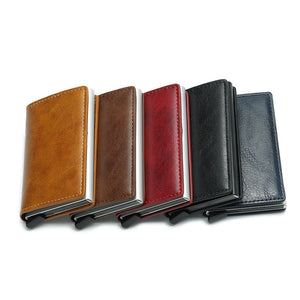 Anti Rfid Reader Card Holder Small Leather Slim Mini Wallet