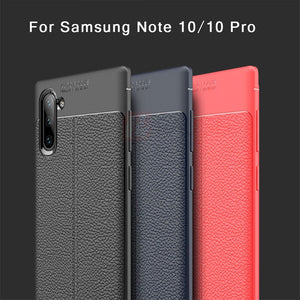 Raugee Case For Samsung  Galaxy Note10 & Note10+ Luxury Litchi Leather Grained Bumper Funda Shockproof Cover
