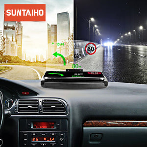 Universal Car HUD +QI Wireless Charger Holder Bracket For Mobile Phone Display GPS Navigation Image Reflector