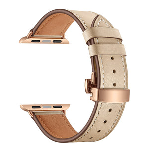 For Apple Watch Series 3/2/ 44mm 40mm Rose gold Butterfly clasp strap watchband