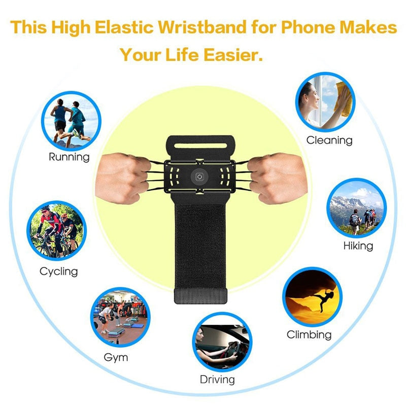 4-6 inches Running Phone Wristband 180 degree Rotatable Wrist Strap  Arm Band Bag