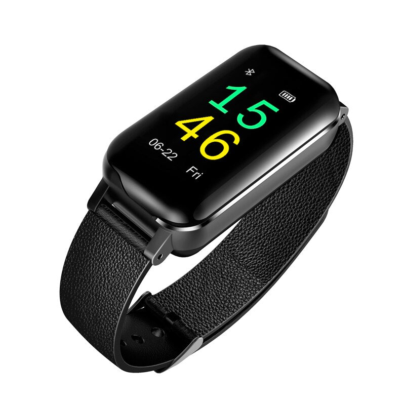 T89 Bilateral Bluetooth Headset Smart Watch Heart Rate Monitor Fitness Fashion  Bracelet IOS Android