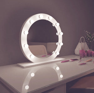 diana 28x28 round white hollywood mirror