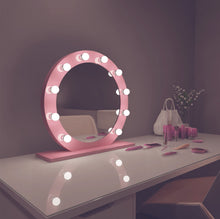 Load image into Gallery viewer, diana 28x28 round pink hollywood mirror