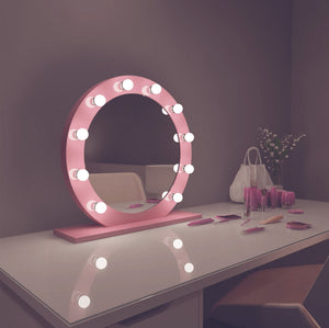 diana 28x28 round pink hollywood mirror