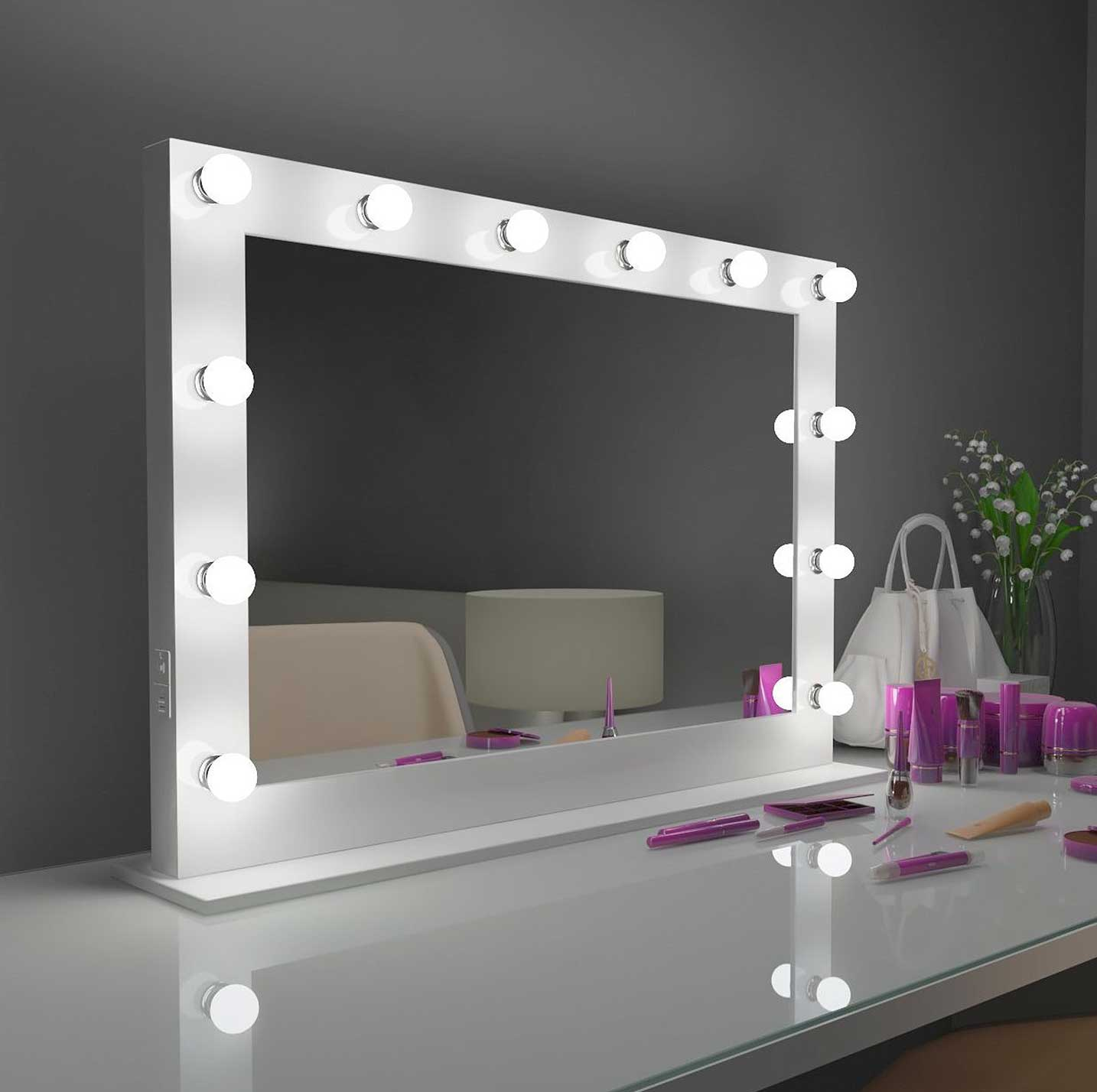 40x28 white bluetooth marilyn hollywood lighted mirror backlit