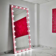 Load image into Gallery viewer, 85x40 pink elizabeth rectangle hollywood mirror