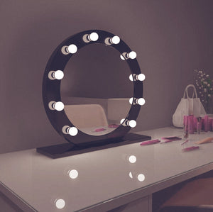 diana 28x28 round black hollywood mirror