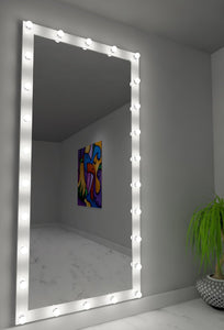 85x40 white elizabeth rectangle hollywood mirror