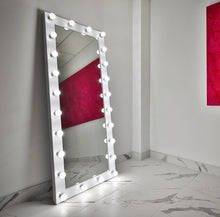 Load image into Gallery viewer, 70x28 white elizabeth rectangle hollywood mirror