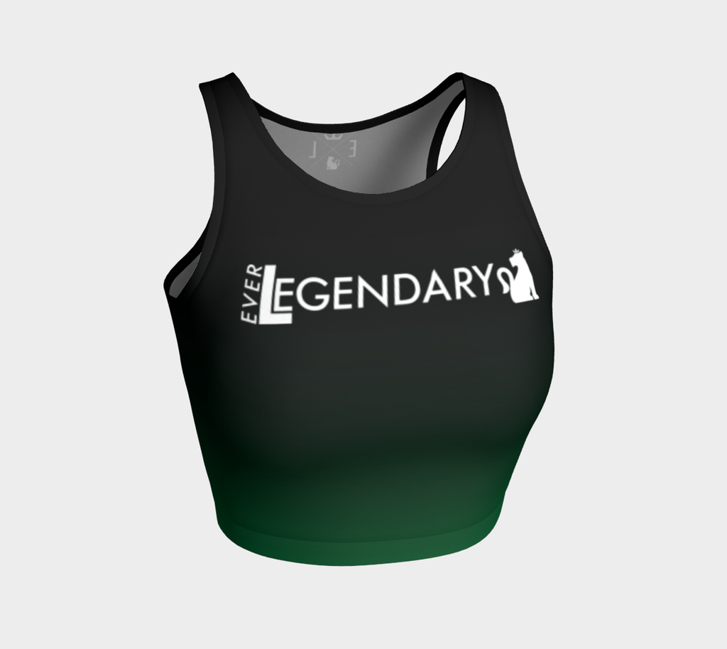 Athletic Crop Top | Black to Dark Green - EverLegendary athletic Wear For Yoga, Weight Lifting, & BJJ/Jiu Jitsu