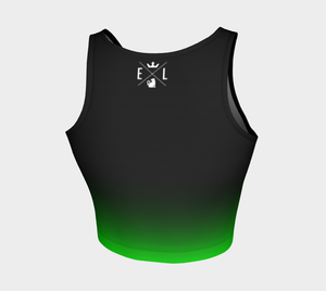 Athletic Crop Top | Black to Lime Green - EverLegendary athletic Wear For Yoga, Weight Lifting, & BJJ/Jiu Jitsu