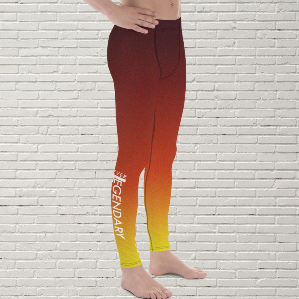 "Men's Color Melt Leggings | ""Fire Dance"" - EverLegendary athletic Wear For Yoga, Weight Lifting, & BJJ/Jiu Jitsu"