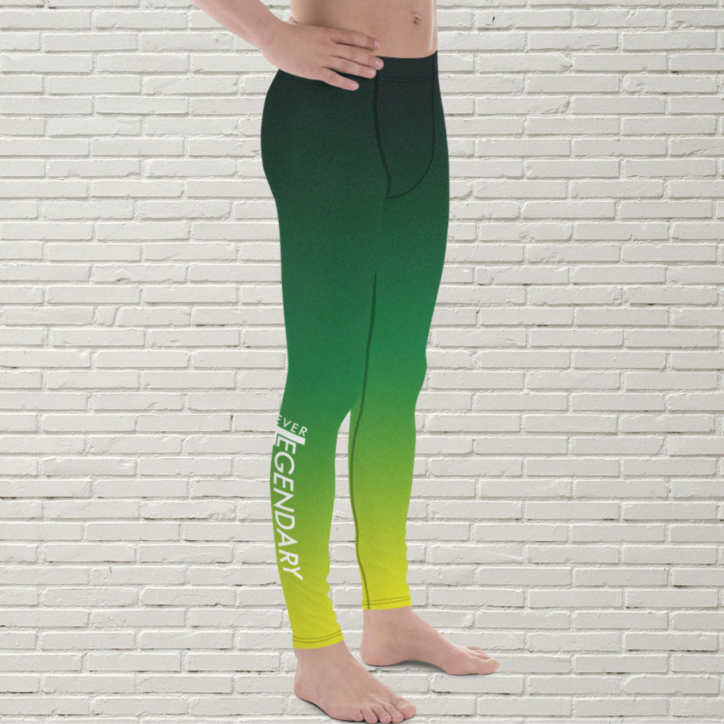 "Men's Color Melt Leggings | ""Lemon Lime Sunshine"" - EverLegendary athletic Wear For Yoga, Weight Lifting, & BJJ/Jiu Jitsu"
