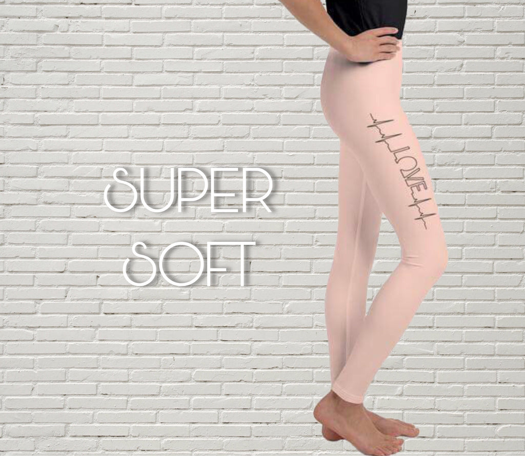 Youth Color Leggings | Skin Pink | LOVE Heartbeat - EverLegendary athletic Wear For Yoga, Weight Lifting, & BJJ/Jiu Jitsu