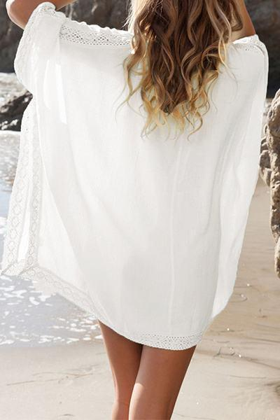 White Bell Sleeve V Neck Crochet Detail Swim Cover Up Tunic