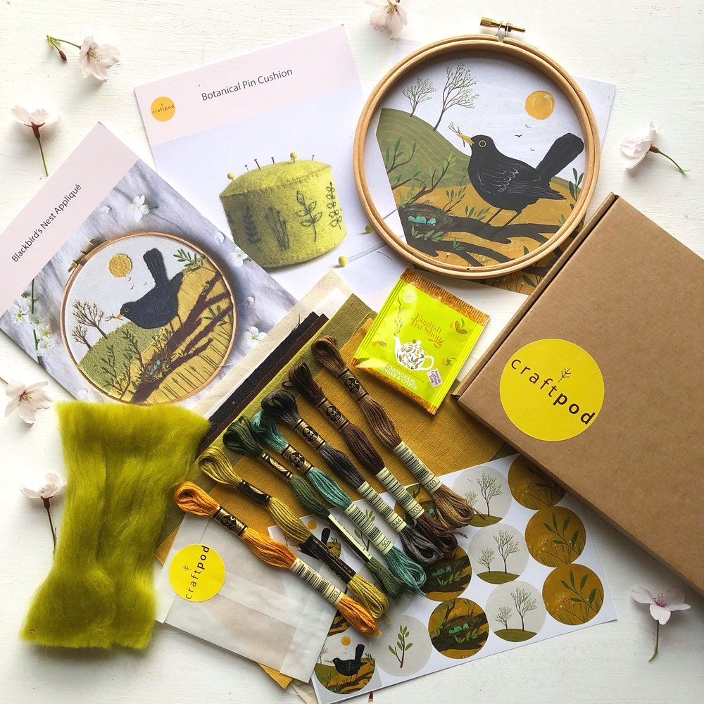 A Craftpod kit containing embroidery threads and hoop, herbal tea, stickers and more nature inspired goodies