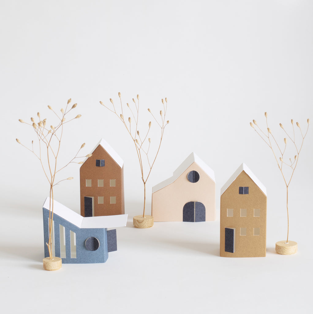 Paper house decorations in different colours