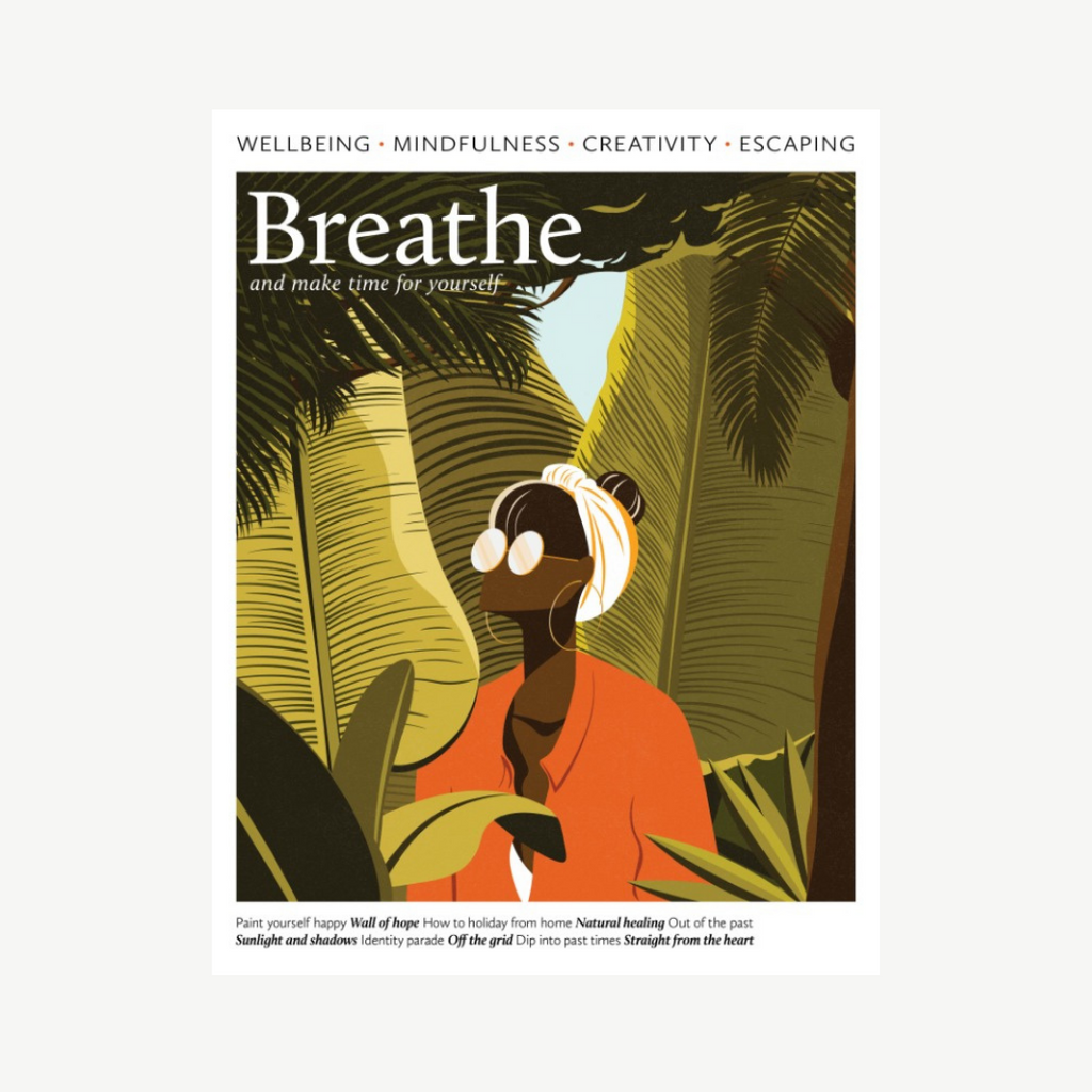 The cover of Breathe Magazine Issue 32 with a woman looking up amongst plants